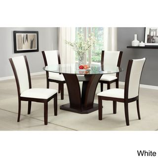Furniture of America Gale 5 piece Two tone Glass and Cherrywood Dining Set Furniture of America Dining Sets