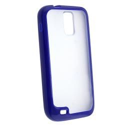 Clear with Blue Trim TPU Rubber Skin Case for Samsung Galaxy S II T989 Eforcity Cases & Holders