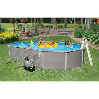 Belize Above Ground 18 x 33 foot Oval Swimming Pool Package Swim Time Above Ground Pools