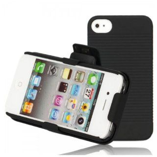 Fast shipping + Free tracking number , Shell Holster Combo Belt Clip Case Cover for iPhone 4 / 4 S Black, Unique design to optional rotating 180 Degree Cell Phones & Accessories