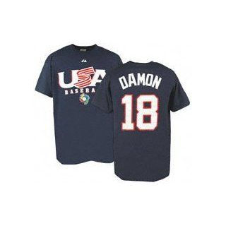 World Baseball Classic Name and Number T shirt #18 Johnny Damon  Athletic Shirts  Sports & Outdoors