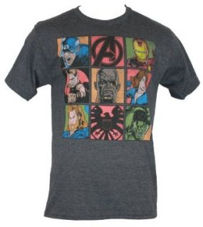 The Avengers (Hulk, Captain Amercia, Thor, Iron Man by Marvel Comics) Mens T Shirt   9 Movie Character Comic Boxes on Heather Gray (Large) Clothing