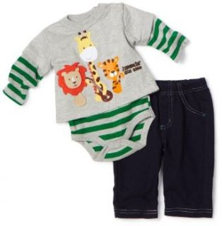 Mini Bean Baby Boys Newborn Jammin Zoo Creeper Set, Gray, 3 6 Months Clothing