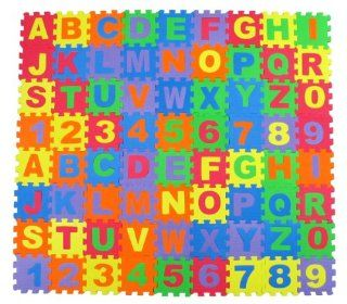 "Alphabet Letters & Numbers Educational Foam Puzzle Floor Mat for Kids + 72 Interlocking Pieces, 6""x6"" Squares Blocks, Covers 18 sq ft Toys & Games"