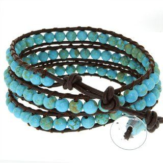 "24"" Blue Beads On Brown Leather Wrap Bracelet With Snap Button Lock Jewelry"
