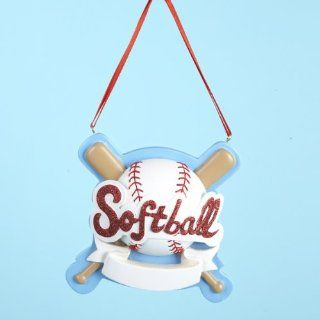 "Club Pack of 12 Softball Christmas Ornaments for Personalization 3.5""   Decorative Hanging Ornaments"