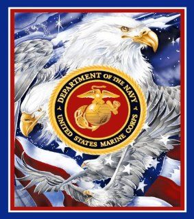 Us Marine Corps Military Fleece Blanket with Marine Corps Seal and EAGLES