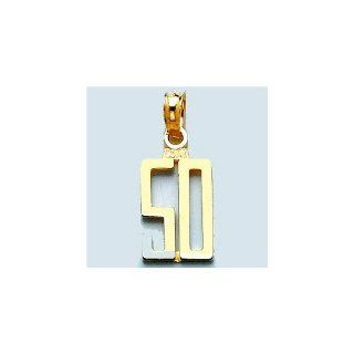 "14k Gold Number ""50"" Pendant In Block Style Million Charms Jewelry"