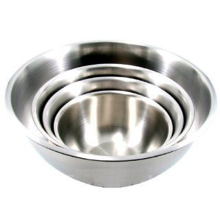 (Set of 4) LARGE Stainless Steel Mixing Bowls Standard Weight *Mirror Finish* 13, 16, 20, and 30 Qt. Kitchen & Dining
