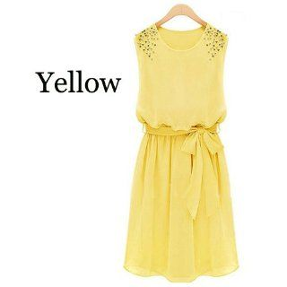 Chiffon Cocktail Mini Dresses Sleeveless Short and Knee Length for Women Size L   Yellow