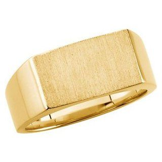 14K Yellow Gold Gents Signet Ring With Brush Finished Top, Size 10 Jewelry