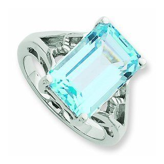 Sterling Silver Rhodium Light Swiss Blue Topaz Ring, Size 8 Jewelry