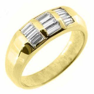 14k Yellow Gold Mens Baguette Cut Diamond Pinky Ring 1 Carat TheJewelryMaster Jewelry