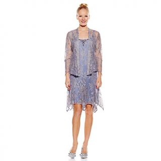 Jessica Howard Metallic Lace Beaded Dress and Jacket 2 piece Set