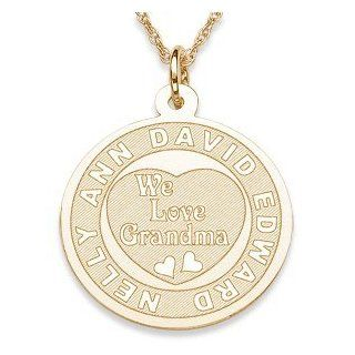 We Love Grandma Engraved Pendant   Personalized Jewelry Jewelry