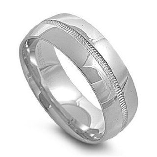 Stainless Steel 8mm Split Row Ring (Size 6   13) Jewelry