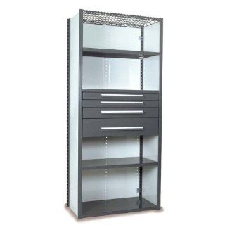 "Equipto 4232VHS V Grip 18 Gauge Heavy Duty Steel Closed Shelf Starter Unit with 5 Shelves, 3"", 4 1/2"" and 7 1/2"" Height Drawers, 400 lbs Drawer Capacity, 36"" Width x 84"" Height x 24"" Depth, Office Gray Industrial & Scient"
