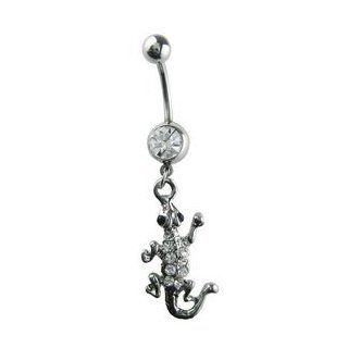 White Jewel Lizard Belly Button Ring   White Gem Sterling Silver Lizard Navel Ring Toys & Games