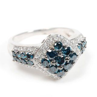 Blue & White Diamond Fine Fashion Cocktail Ring Sterling Silver Party Jewelry Jewelry