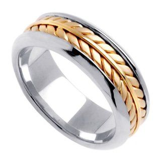 Two Tone Braided Wedding Ring for Women (7.5mm) Jewelry