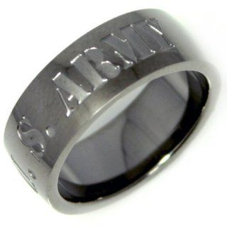 "Stainless Steel Men or Womens Band Ring with Gunmetal Color ""US Army"" Inscribed Jewelry"