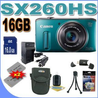 Canon PowerShot SX260HS SX260 HS 12.1 MP CMOS Digital Camera with 20x Image Stabilized Zoom 25mm Wide Angle Optical Lens and 1080p HD Video (Green)  Premium Bundle 16 GB Memory Card, Two NB6L Battery, Battery Charger, Card Reader, Carrying Case, Mini Tripo