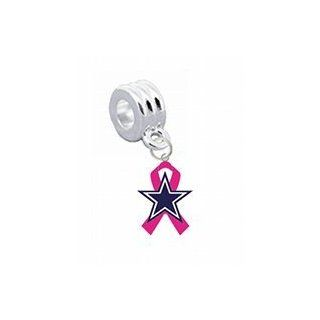 "Dallas Cowboys ""Breast Cancer Awareness"" Pink Ribbon Charm with Connector   Universal Slide On Charm   ""Classic & Original Style""   Fits Pandora, Troll, Biagi & More Perfect For Custom Bracelets, Necklaces and DIY Jewelry Jew"