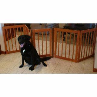 "32"" Tall   Up to 108"" Wide Walk Through Hardwood Pet Gate   Cherry Stain   Made in the USA  Baby"
