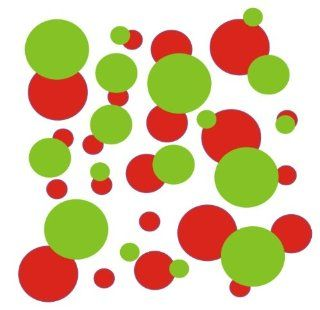 set of 106 Red and Lime Green polka dots Vinyl wall lettering stickers quotes and sayings home art decor kit peel stick mural graphic appliques decal   Wall Banners