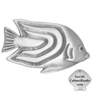 Angelfish Cabinet Knobs 109R Small   Angelfish Designer Pewter Cabinet Hardware, Knobs, Pulls, Handles. Sea Life, Nautical, Tropical, Ocean, Coastal, Beach Decor. Kitchen, Bath or Den. Various Finishes, Colors   Cabinet And Furniture Knobs