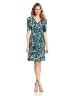 Evan Picone Women's Faux Wrap Printed Dress, Cool Mint Combo, 4