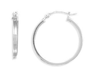 Square Tube Hoop Earrings, Sterling Silver GLITZS Jewelry