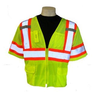 Global Glove GLO 127 FrogWear Class 3 Front Mesh Safety Vest with 3M Reflective Fabric, Large, Lime (Case of 50)