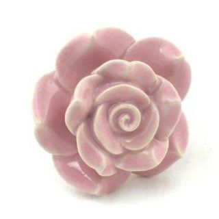Sm Pink Rose Ceramic Cabinet Knobs, Drawer Pulls & Handles Set/6pc ~ K127 Hand Painted Vintage Ceramic Rose Knobs with Chrome Hardware. Ceramic Knobs, Handles & Pulls for Dresser, Drawers, Cabinets & Vanity   Cabinet And Furniture Knobs