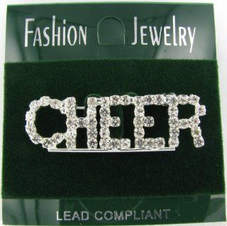Cheer Rhinestone Word Brooch Pin with Clear Crystals