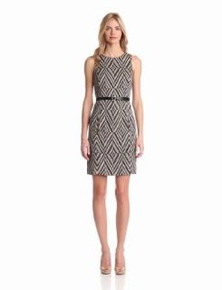 Anne Klein Women's Sleeveless Belted Print Dress, Black Combo, 2