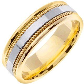 14K Two Tone Gold Women's Braided Rope Edge Wedding Band (7mm) Jewelry