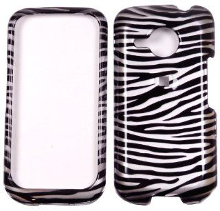 HTC DROID ERIS 6200 Silver Black Zebra Design Snap on Hard Cover