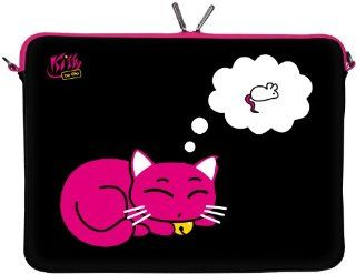 "KITTY TO GO LS143 15 Designer Notebook Sleeve 15.4"" Laptop Cover neoprene soft carry case up to 15.6 inch Anti Shock System Computers & Accessories"