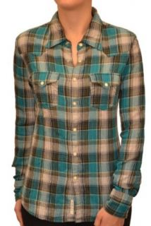 True Religion Brand Jeans Women's Georgia Textured Plaid Shirt Teal Clothing
