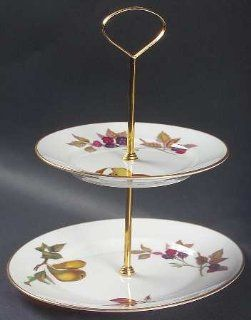 Royal Worcester Evesham Gold (Porcelain) 2 Tiered Serving Tray (Salad & Bread/Butter Plate), Fine China Dinnerware Kitchen & Dining