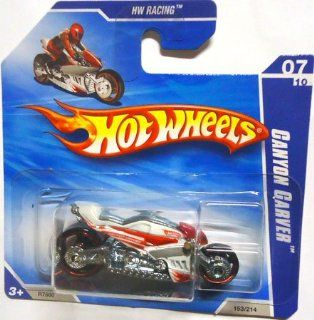 2010 Hot Wheels White CANYON CARVER Motorcycle #153/214 HW Racing #7/10 (Short Card) Toys & Games