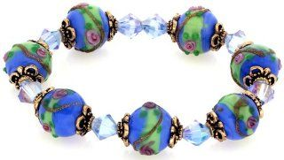 Royal Diamond Blue Rose Flower Swirl Glass Bead Stretch Bracelet with Crystals (Blue Rose) Jewelry