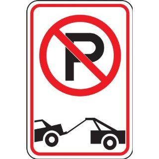 "Accuform Signs FRP166RA Engineer Grade Reflective Aluminum No Parking/Tow Away Symbol Restriction Sign, 12"" Width x 18"" Length x 0.080"" Thickness, Black/Red on White"