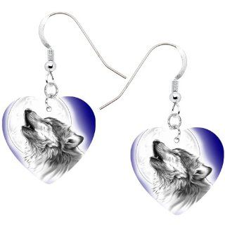 Heart Moon Howling Wolf Earrings Jewelry