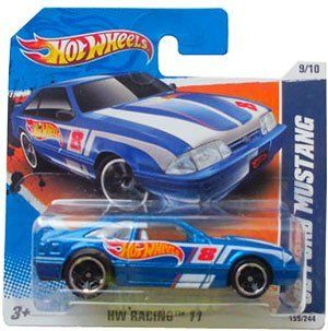 '92 FORD MUSTANG (Blue) * 2011 2012 Hot Wheels #159/214 HW Racing #09/10 164 scale car on SHORT CARD