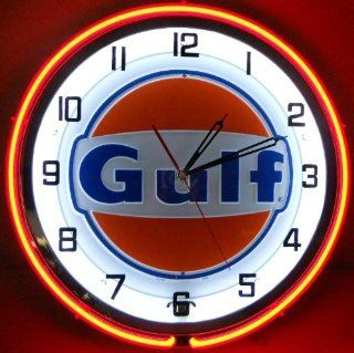 "GULF 18"" NEON LIGHTED WALL CLOCK GASOLINE GAS FUEL PUMP OIL TANKER SIGN ORANGE NEW   Conduit Fittings"