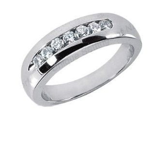 Men s Diamond Ring 7 Round Stones 0.05ct Total 0.35ctw 165 MDR1169 Wedding Bands Wholesale Jewelry