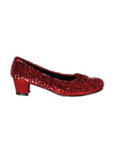 girls   Kids Childs Red Sequin Shoes Lg Halloween Costume Clothing