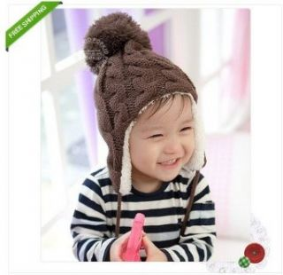 1pc Brown New Crochet Baby Toddler Girl Boy Thicken Winter Warm Hat Cap Earflaps Clothing